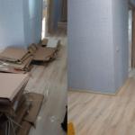 Комбинированное фото до и после уборки из помещения упаковочной тары
